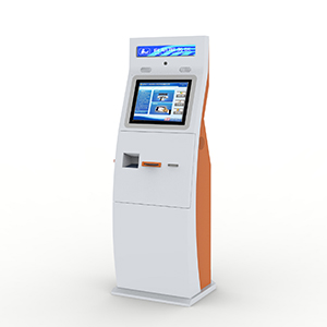Lobby Kiosk with Barcode Scanner and Cash Acceptor